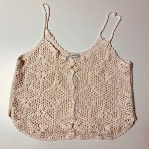 American Eagle Outfitters Cream Crochet Tank Top